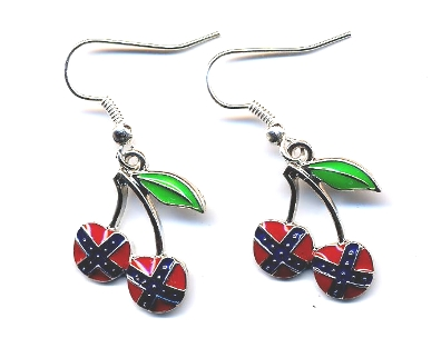 cherry earrings with confederate flag
