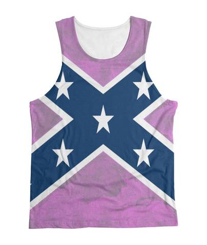 Ladies All Print Dixie Flag Tank Top Pink